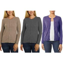 Belford 100% Cashmere Long Sleeve Cardigan Sweater for Women