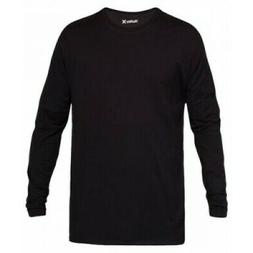 $115 HURLEY Men's BLACK SOFT STRETCH CREW-NECK LONG-SLEEVE C