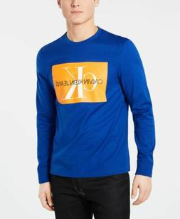 $115 CALVIN KLEIN Men's BLUE LONG-SLEEVE GRAPHIC LOGO PULLOV