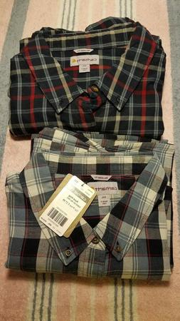 2  NWT men's Carhartt long sleeve button down shirts 4XL Big