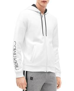 $245 CALVIN KLEIN Men's WHITE LOGO LONG-SLEEVE PULLOVER HOOD