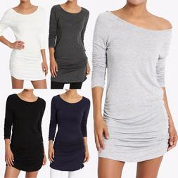 TheMogan 3/4 or Long Sleeve Slim Fit Stretch Ruched Tunic To