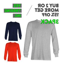 3 PACK AAA ALSTYLE 1304 MENS CASUAL LONG SLEEVE T SHIRT COTT