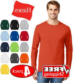 4 PACK Hanes Tagless Cotton Long Sleeve T Shirt Mens Blank C