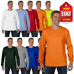Hanes Mens Long Sleeve Pocket T-Shirt 100% Cotton 6.1 oz Hea