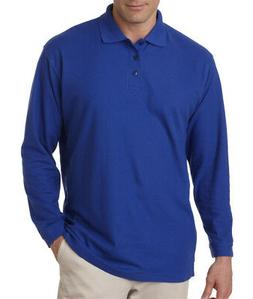 8542 UltraClub Men's Long-Sleeve Whisper Pique Polo Plain Po