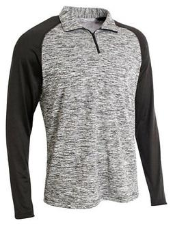A4 Men's Long Sleeve Polyester Space Dye Contrast 1/4 Zip Pu