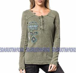 AFFLICTION AC United AW16843 New Long Sleeve Olive Henley Th