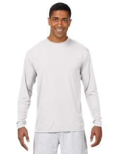 A4 Adult Cooling Performance Long-Sleeve T-Shirt, Wht, X-Lar