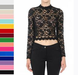 All Over Floral Lace Sheer Fitted Top Stretchy Long Sleeve M
