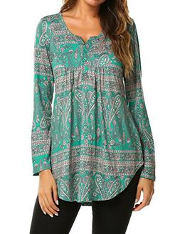Women's Autumn Casual Tops V Neck Paisley Printed Shirts Lon