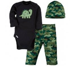 Gerber Baby Boy 3-Piece Black Camo Dino Long Sleeve Onesies,