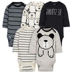 Gerber Baby-Boys 5 Pack Variety Onesies, Grey Bear Long Slee