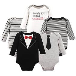 Little Treasure Baby Cotton Bodysuits, Tuxedo 5Pk Long Sleev