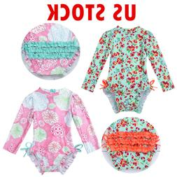 Baby Girls Floral Swimsuit Long Sleeve Sun Protective Swimwe