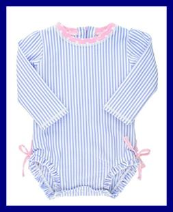 Baby/Toddler Girls Long Sleeve One PC Swimsuit BLUE Seersuck