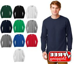 Gildan Basic Cotton Long Sleeve T Shirt Mens Blank Casual Pl