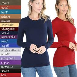 Basic Plain Solid Long Sleeve T Shirt Crew Neck Round Neck S