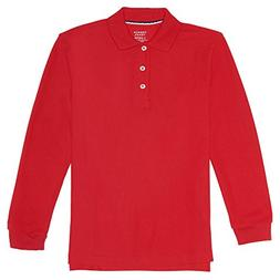 French Toast Big Boys' Long-Sleeve Pique Polo Shirt, Red, Me