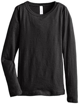 Clementine Big Girls' Everyday Long Sleeve Tee, Black,Large