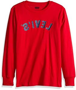 Levi's Boys' Big Long Sleeve Graphic Logo T-Shirt, Crimson E