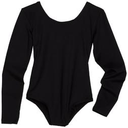 Danskin Big Girls' Long-Sleeve Leotard, Black, Medium