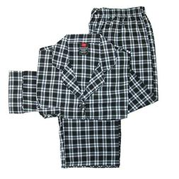 Hanes Mens Big & Tall Broadcloth Long Sleeve Pajama Set