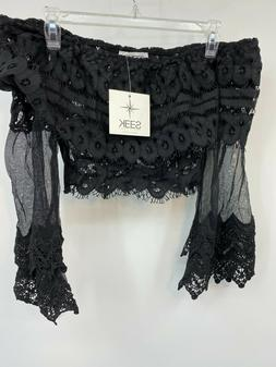 Seek The Label Black Lace Top Size Small Off The Shoulder Bo