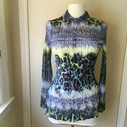 Komarov Blouse Top Crinkle Stretch Long Sleeve Tunic Multi C