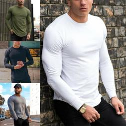 Bodybuilding Long Sleeve T-shirt Men's Slim Muscle Tops Fitn