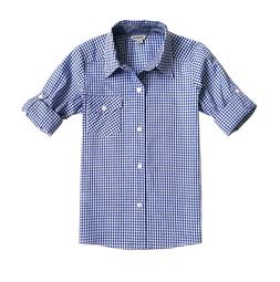 Bienzoe Boy 's Cotton Plaid Roll Up Sleeve Button Down Sport