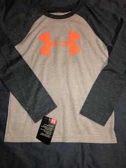 Boy's Under Armour Long Sleeve Shirt Gray and Neon Orange Si