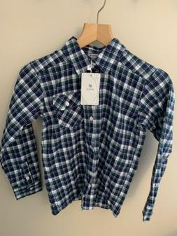 Bienzoe Boy's Warm Flannel Long Sleeve Plaid Shirt Blue Gree