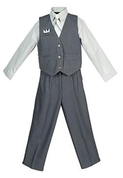 boys 4 piece pinstripe vest set gray
