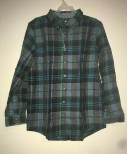 Cat And Jack Boys Black And Blue Plaid Long Sleeve Button Do