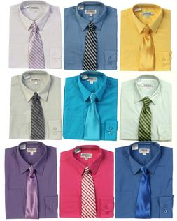 Boys Dress Shirt Long Sleeve Button Down and Tie Children To