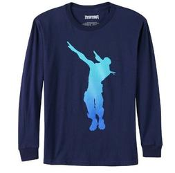 Boys Fortnite Dab Dance Long Sleeve Navy Top Tee T-Shirt 8 1