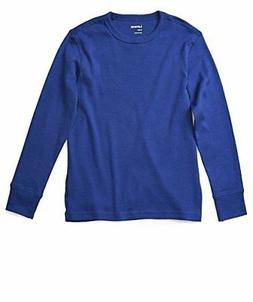 Leveret Boys Girls Blue Long Sleeve Solid T-Shirt 100% Cotto