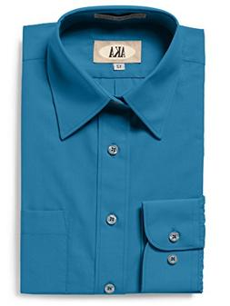 AKA Boys Wrinkle Free Solid Long Sleeve Dress Shirt - Aqua 1