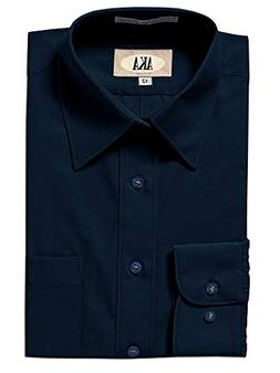 AKA Boys Wrinkle Free Solid Long Sleeve Dress Shirt - Navy 1