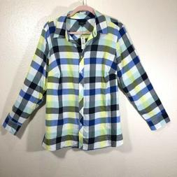 Talbots Button Up Long Sleeve Top Light Weight Cotton Gingha