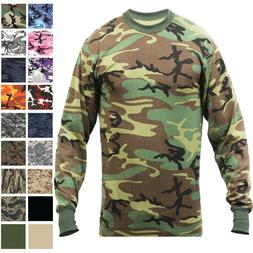 Camo Long Sleeve T-Shirt Tactical Military Crew Tee Undershi