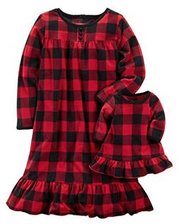 Carters Girls Microfleece Nightgown and Doll Gown Red Black