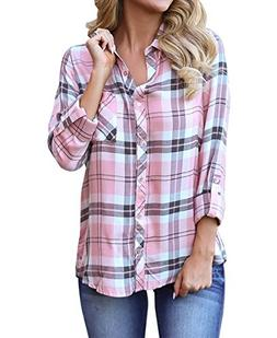 roswear Women's Casual Loose Cuffed Sleeve Plaid Button Do