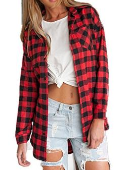 Sorrica Women's Casual Loose Long Sleeve Plaid Flannel Blous