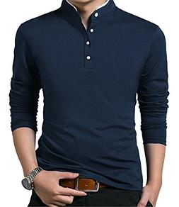 KUYIGO Men's Casual Slim Fit Long Sleeve Henley T Shirts C