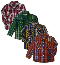 Casual Western Plaid Shirt Boys Long Sleeve Pearl Snap Baby