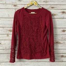 Sundance Catalog Red Long Sleeve Crochet Top Size Small