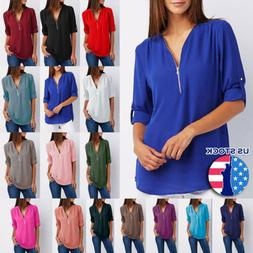 Chiffon Loose Tops Long Sleeve Sexy V Neck T Shirt Casual Bl