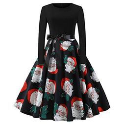 Women Christmas Dress Vintage,Vanvler Ladies Print Evening